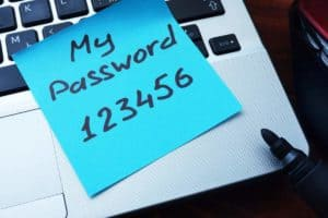 password written on a sticky note